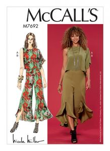 McCall's M7692 Draped Top and Flounced Pants