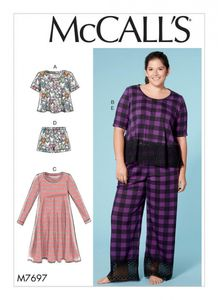 McCall's M7697 Misses'/Women's Lounge Tops, Dress, Shorts and Pants
