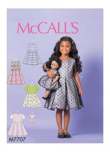 "McCall's M7707 Children's/Girls' Dresses and 18"" Doll Dress"