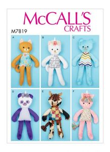 McCall's pattern M7819 Soft Toy Animals