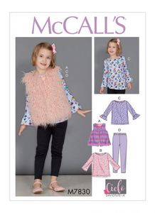 McCall's pattern M7830 Girls Tunic Tops, Vest and Leggings