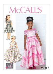 McCall's pattern M7858 Girls Dresses, Train and Bow