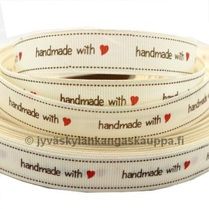 Handmade with-print ribbon Natural White