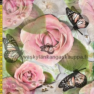Digital jersey Pink Roses and Butterflies (50cm cut)
