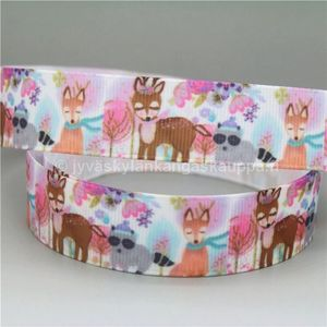Ribbon Animals (pink forest) 22mm