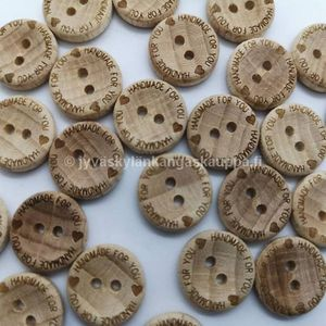 Wood button Handmade for You 16mm