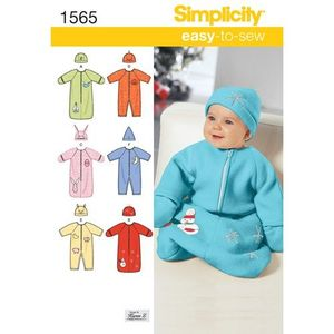 Simplicity Pattern S1565 Baby Sleeping Bag, Romper and Hats