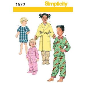 Simplicity Pattern S1572 Toddler and Child Loungewear and Robe
