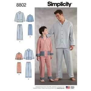 Simplicity Pattern S8802 Boys and Mens Sleepwear