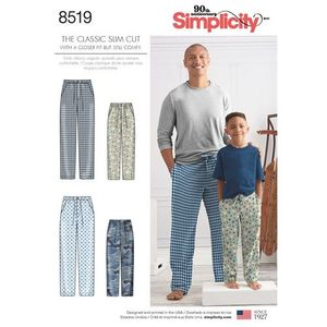 Simplicity Pattern S8519 Boys' and Men's Slim Fit Pants