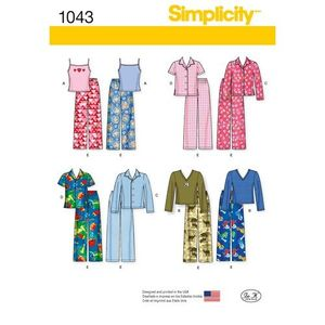 Simplicity Pattern S1043 Child, Girl and Boy Pyjamas