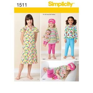 Simplicity Pattern S1511 Child and Doll Matching Loungewear