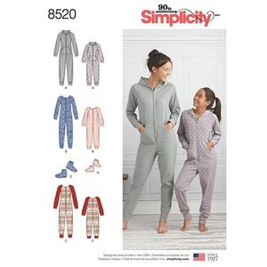 Simplicity Pattern S8520 Girls and Misses Jumpsuits and Booties