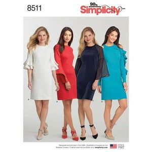 Simplicity Pattern S8511 Dress with Sleeve Variations