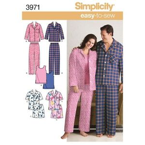 Simplicity Pattern S3971 Women and Mens Plus Size Cozywear