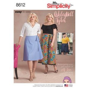 Simplicity Pattern S8612 Womens Easy Wrap Skirts