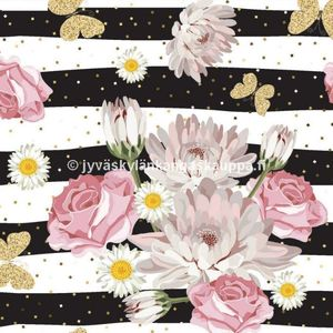 Digital jersey Striped Flowers and Butterflies