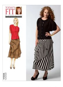 Vogue pattern V1333 BATWING BLOUSE AND TUCKED SKIRT