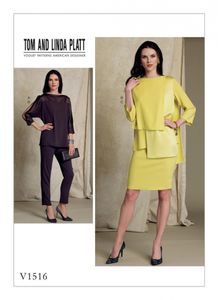 Vogue V1516 Layered tops, pencil skirt and pants
