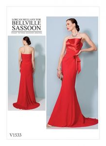 Vogue V1533 Strapless, front-drape dress with train