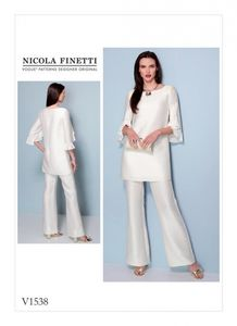 Vogue V1538 Ruffle sleeve tunic and bootcut jumpsuit