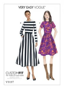 Vogue V9197 Gathered-skirt dresses