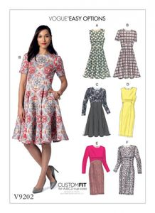 Vogue V9202 Dresses with flared or straight skirt options