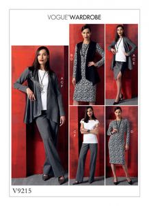 Vogue V9215 Jacket, vest, top, dress, skirt and pants