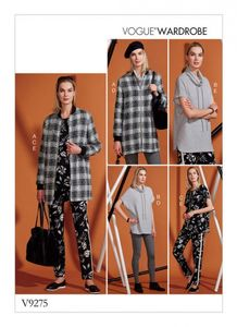 Vogue V9275 Lined jacket, knit tunic, leggings and pants