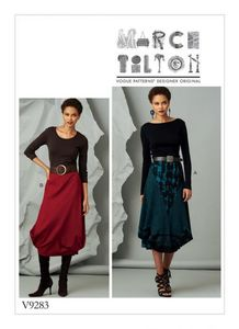 Vogue V9283 Elastic-waist skirt with seam details