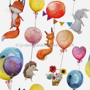 Digital jersey Water Colour Balloon Animals WHITE