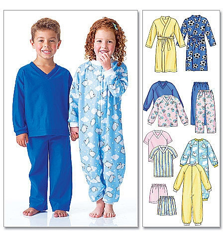 McCall's M6224 Children's robe, onsie, top, shorts and pants