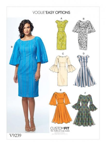 Vogue V9239 Princess seam dresses with sleeve and skirt variations